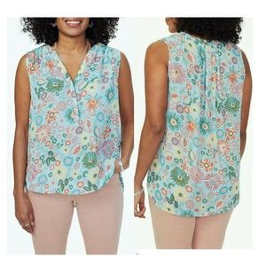 NYDJ Perfect Sleeveless Blouse Top XL Floral